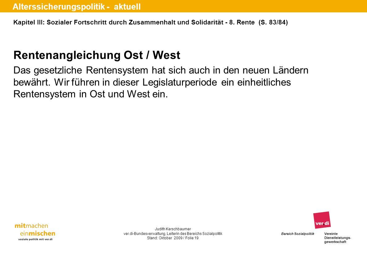 Rentenangleichung Ost / West