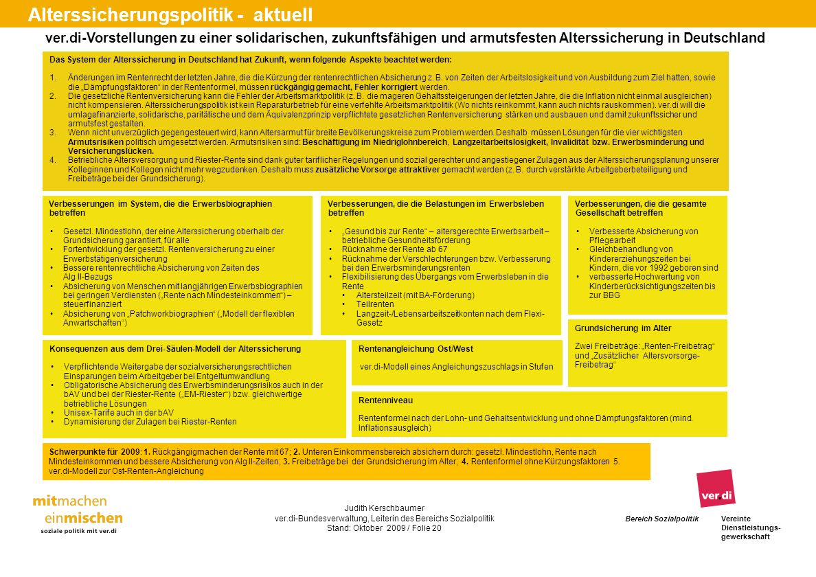 ver.di-Vorstellungen zu einer solidarischen, zukunftsfähigen und armutsfesten Alterssicherung in Deutschland