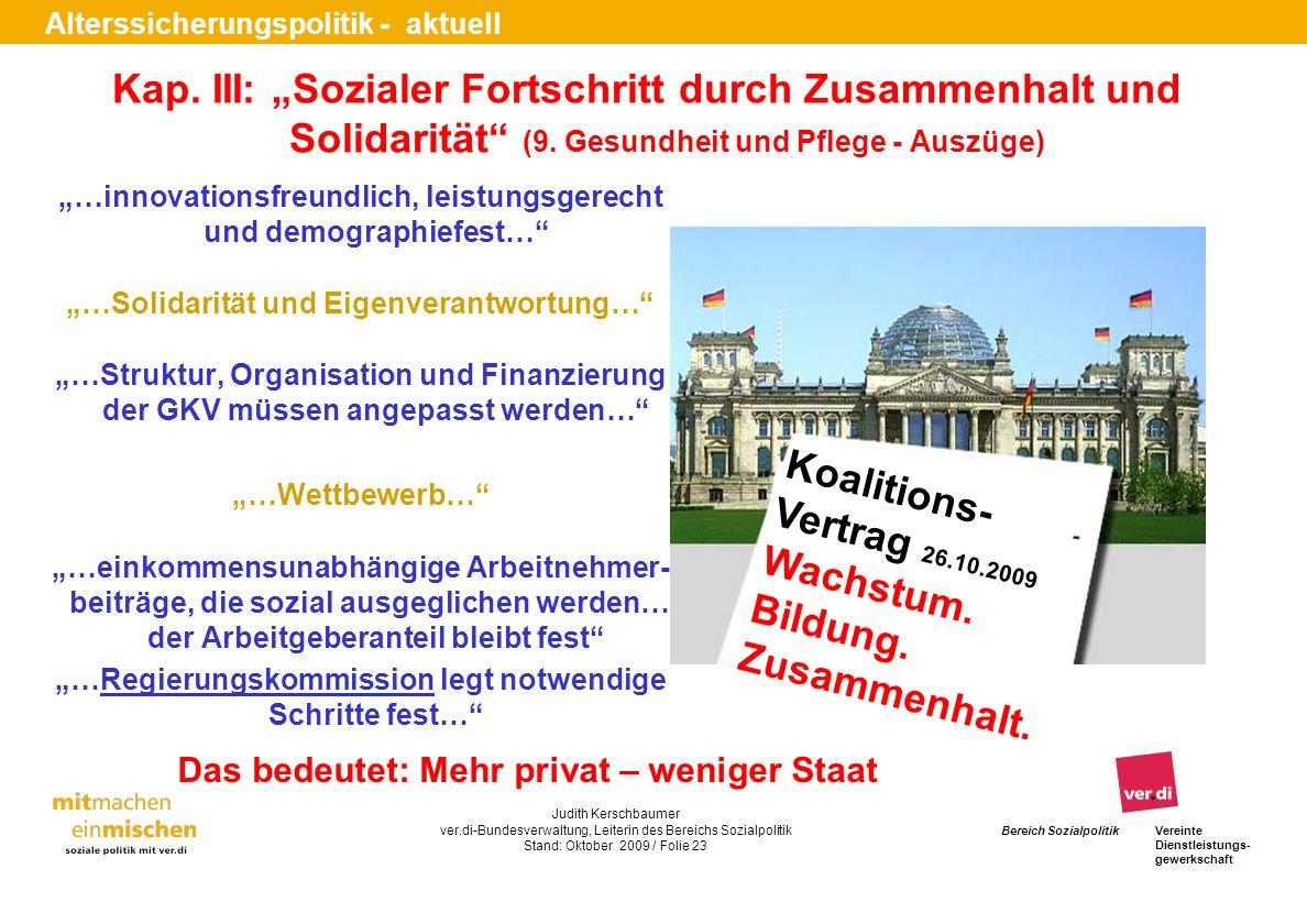 """Kap. III: """"Sozialer Fortschritt durch Zusammenhalt und Solidarität (9"""