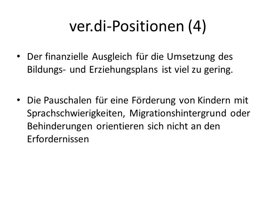 ver.di-Positionen (4) Der finanzielle Ausgleich für die Umsetzung des Bildungs- und Erziehungsplans ist viel zu gering.