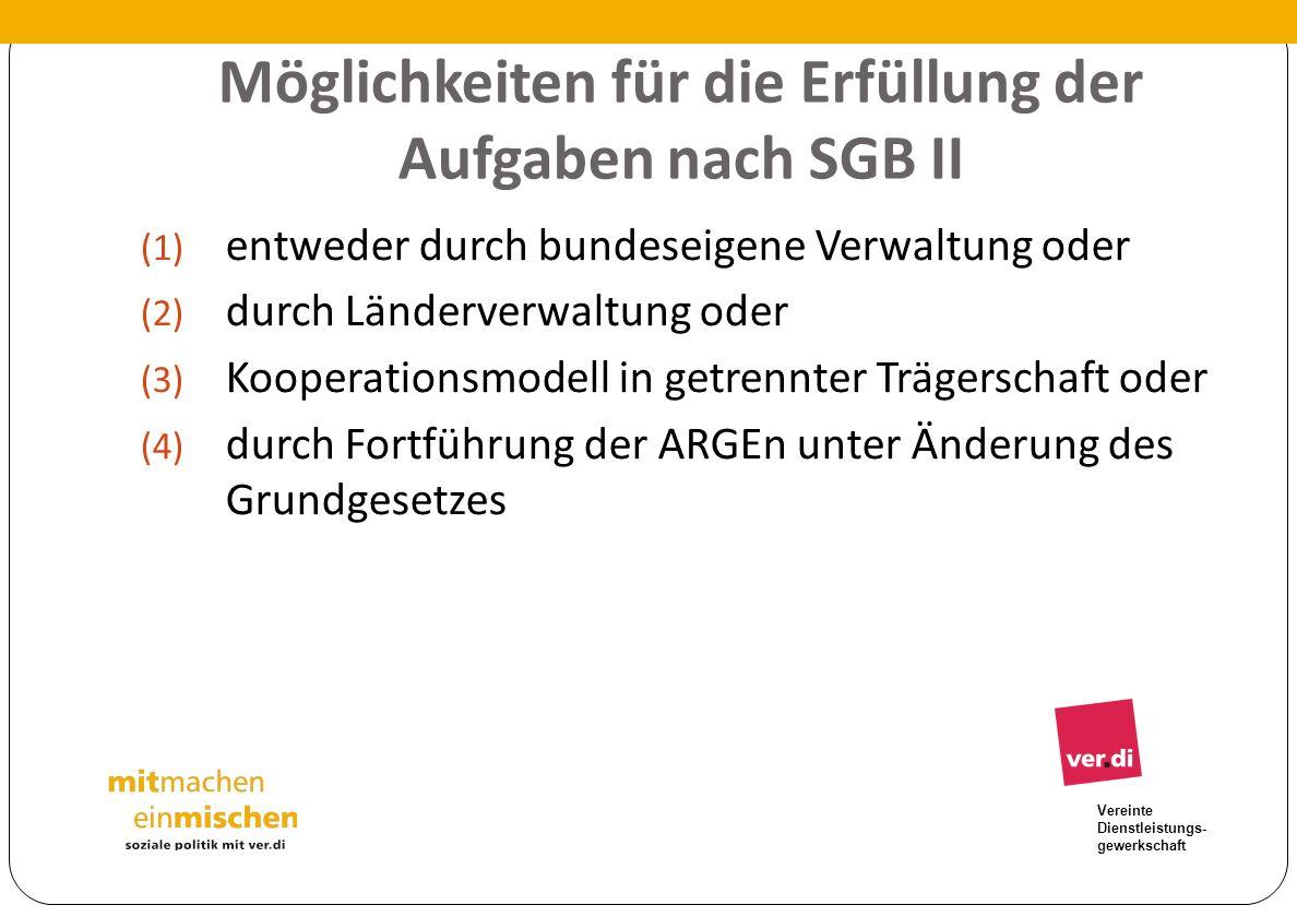 Möglichkeiten für die Erfüllung der Aufgaben nach SGB II