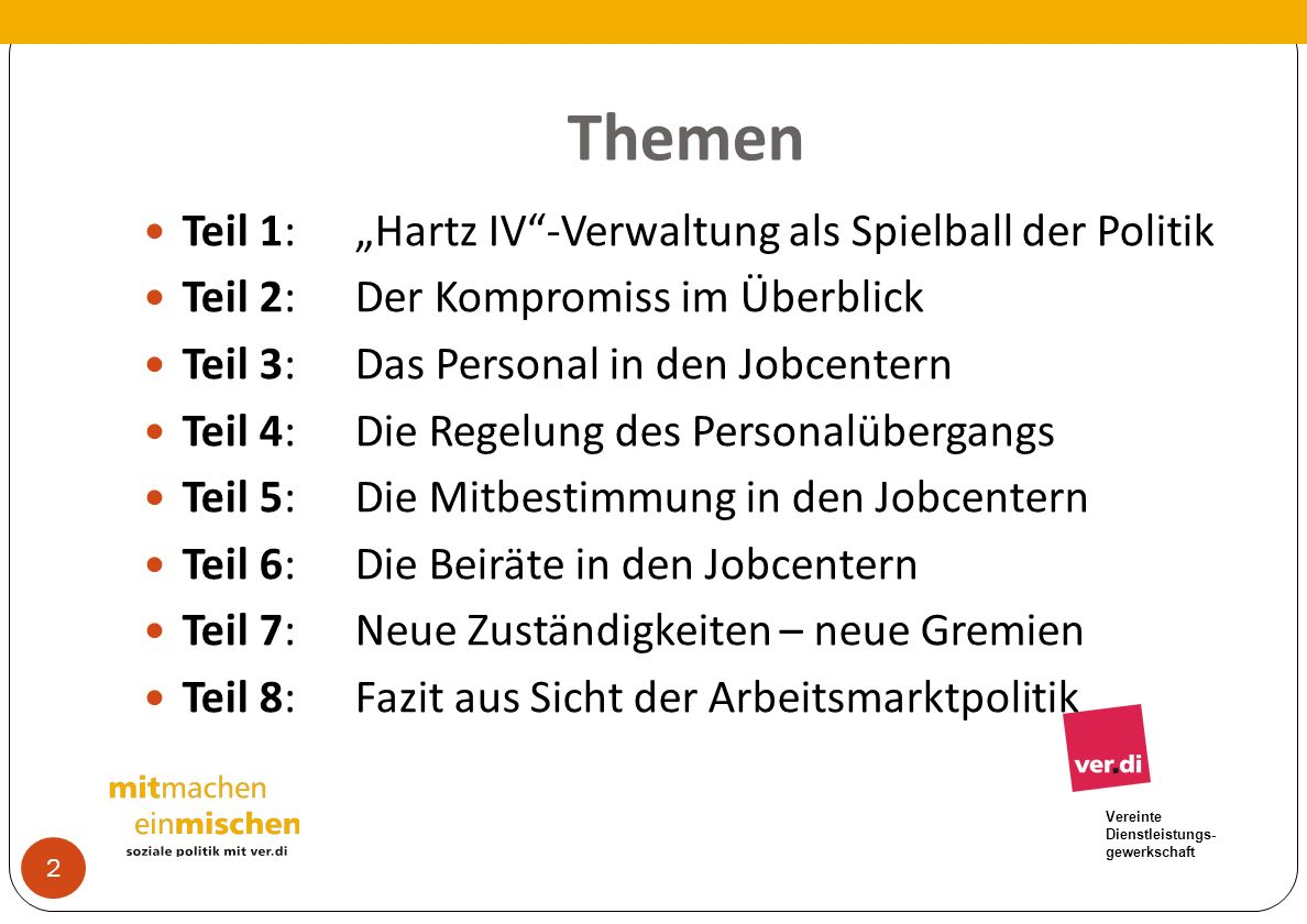 """Themen Teil 1: """"Hartz IV -Verwaltung als Spielball der Politik"""