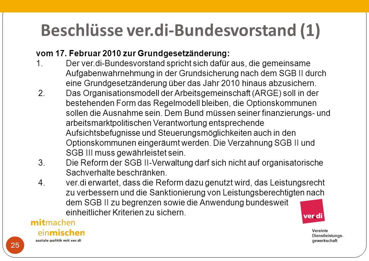 Beschlüsse ver.di-Bundesvorstand (1)
