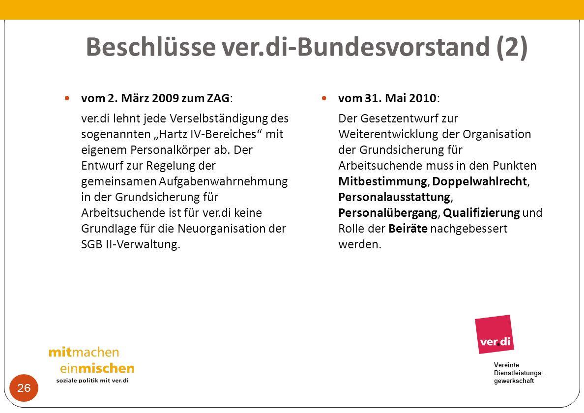 Beschlüsse ver.di-Bundesvorstand (2)