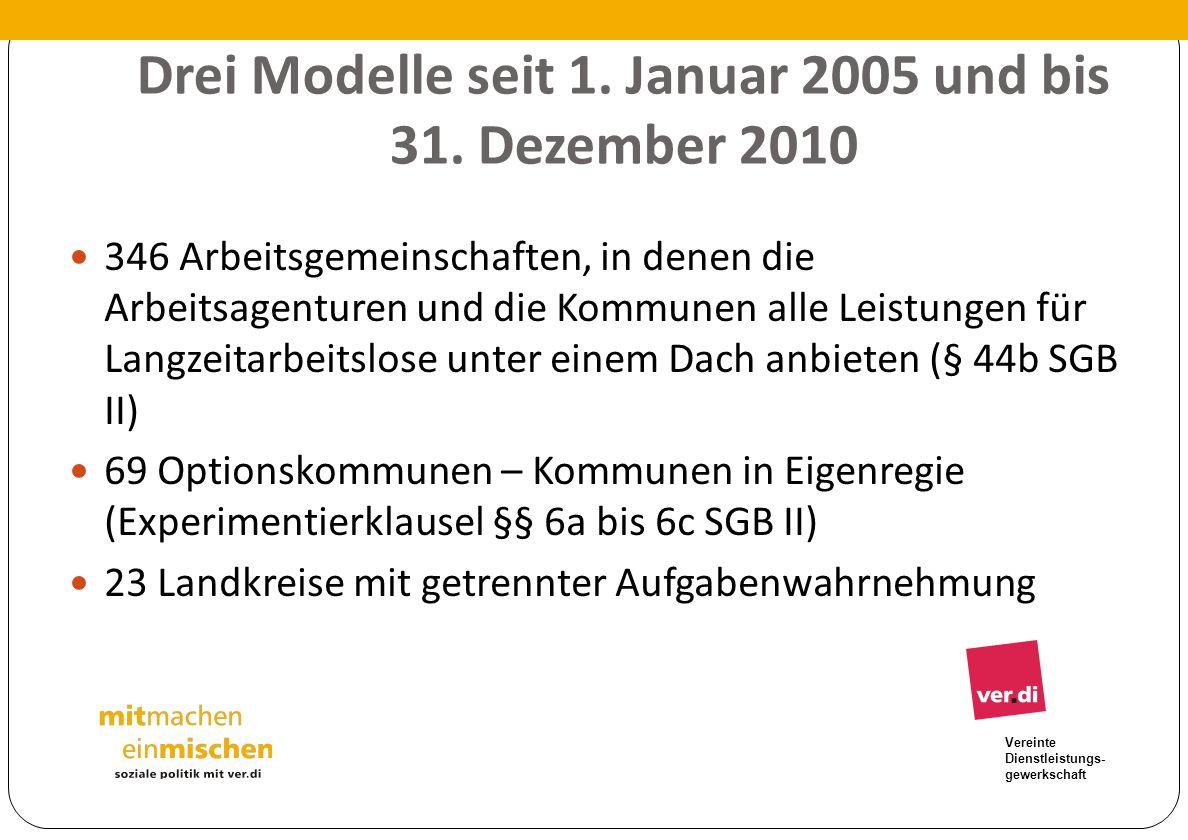 Drei Modelle seit 1. Januar 2005 und bis 31. Dezember 2010