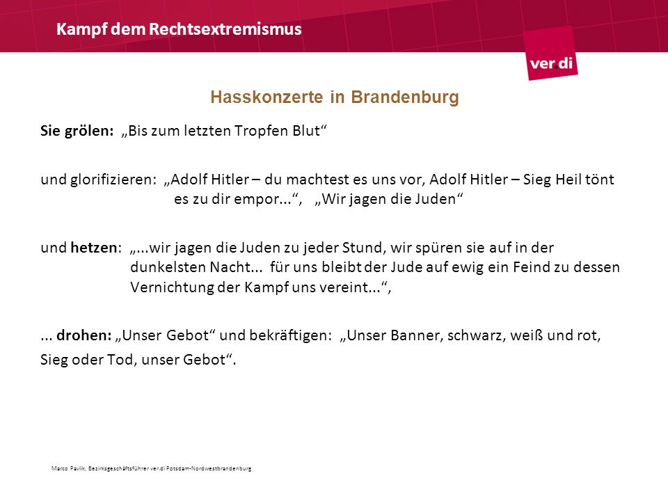 Hasskonzerte in Brandenburg