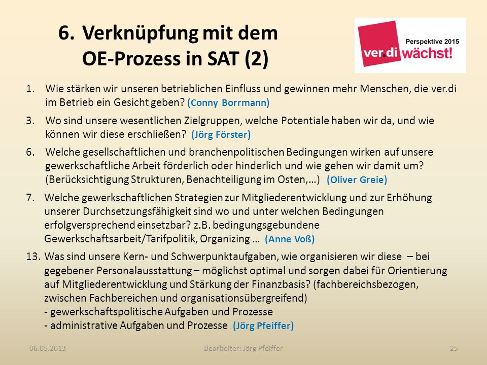 6. Verknüpfung mit dem OE-Prozess in SAT (2)