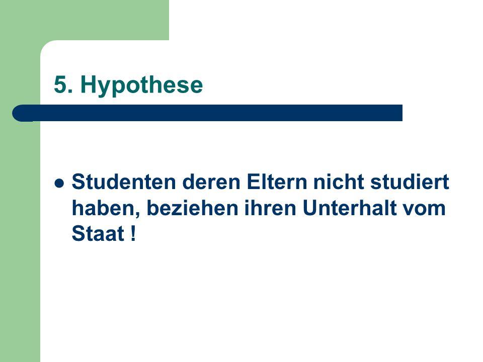 5. Hypothese Studenten deren Eltern nicht studiert haben, beziehen ihren Unterhalt vom Staat !