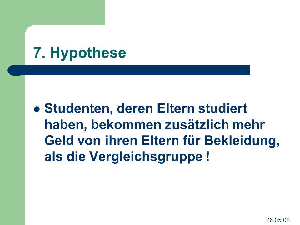 7. Hypothese Studenten, deren Eltern studiert haben, bekommen zusätzlich mehr Geld von ihren Eltern für Bekleidung, als die Vergleichsgruppe !