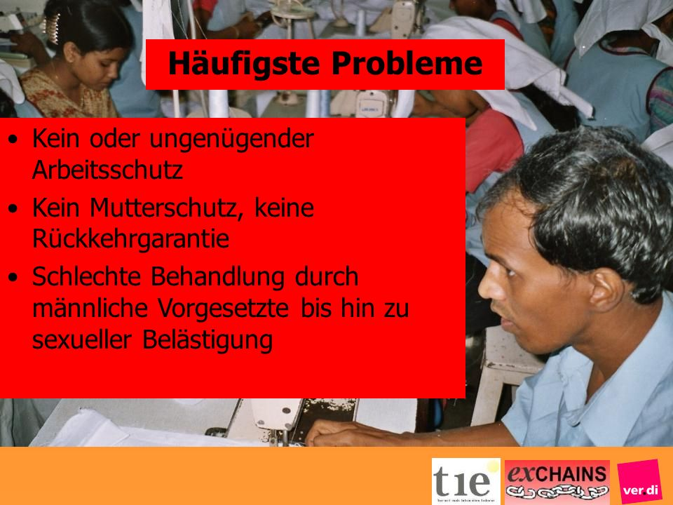 Häufigste Probleme Kein oder ungenügender Arbeitsschutz