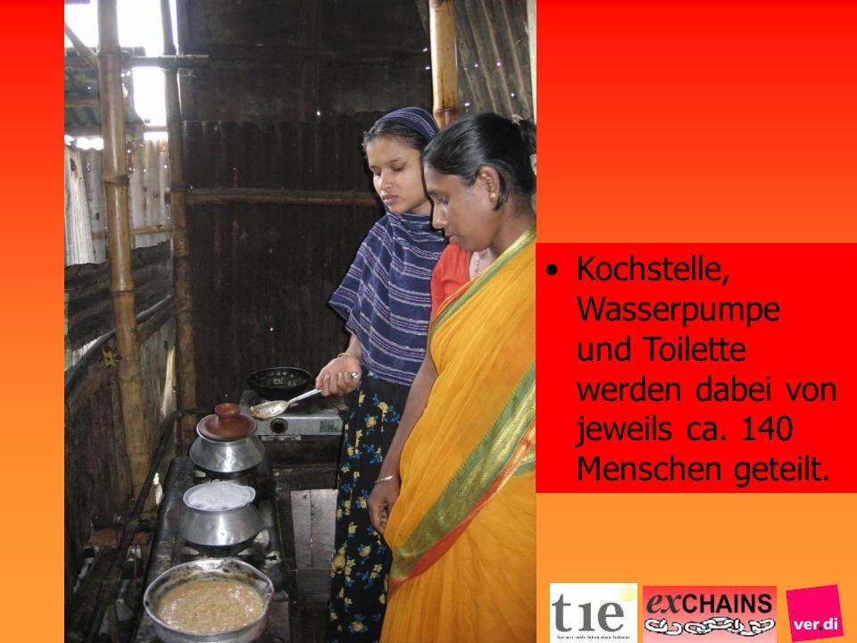 Kochstelle, Wasserpumpe und Toilette werden dabei von jeweils ca