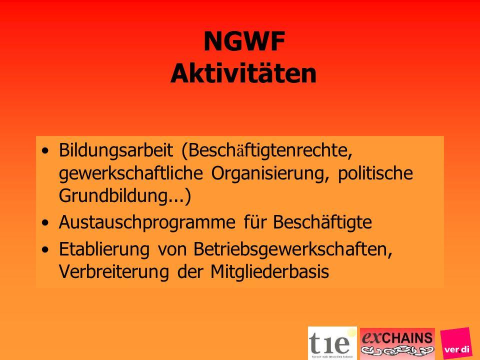 NGWF AktivitätenBildungsarbeit (Beschäftigtenrechte, gewerkschaftliche Organisierung, politische Grundbildung...)