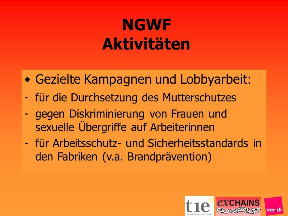 NGWF Aktivitäten Gezielte Kampagnen und Lobbyarbeit: