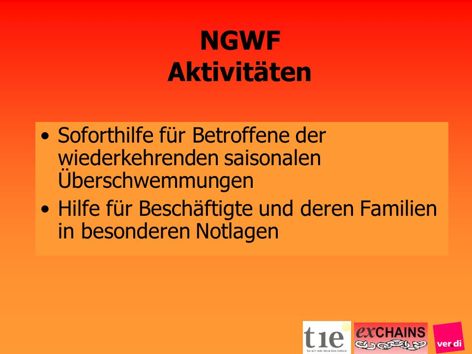 NGWF AktivitätenSoforthilfe für Betroffene der wiederkehrenden saisonalen Überschwemmungen.