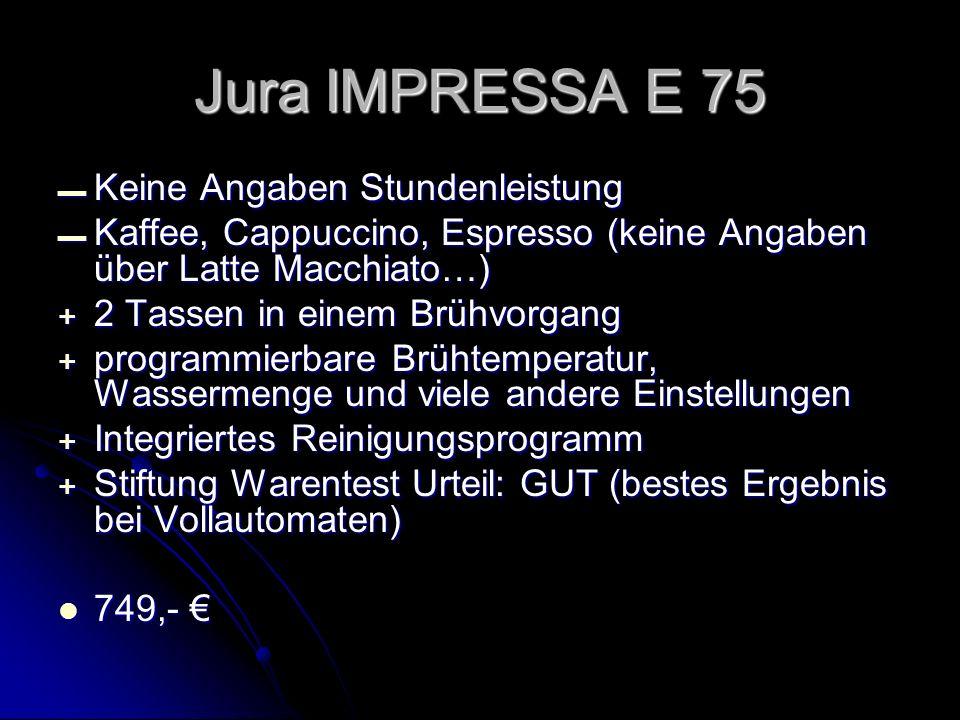 Jura IMPRESSA E 75 Keine Angaben Stundenleistung
