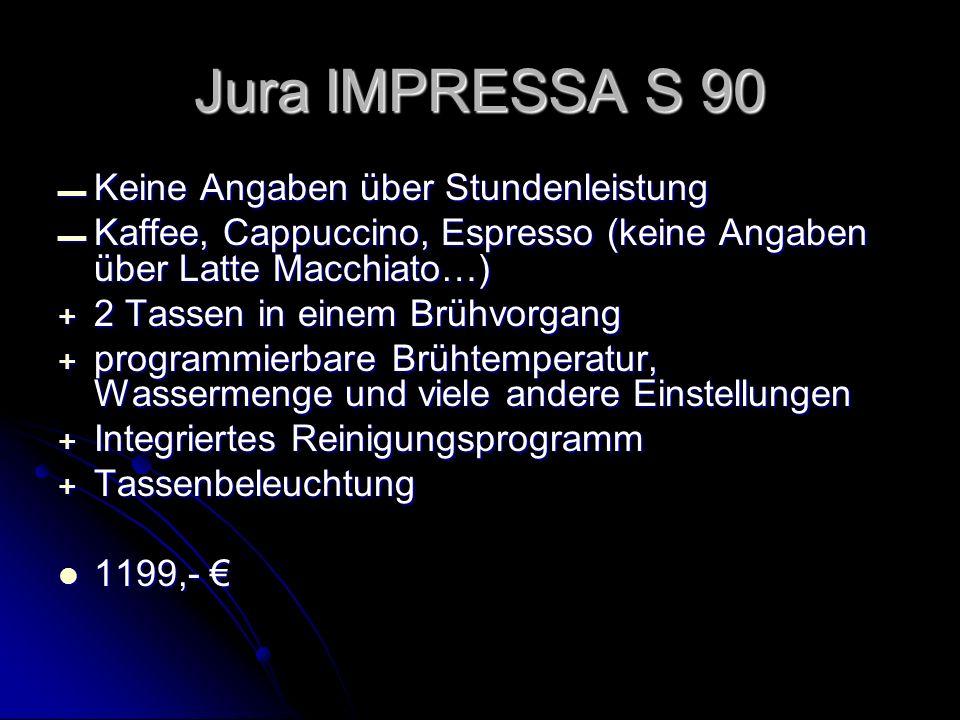 Jura IMPRESSA S 90 Keine Angaben über Stundenleistung