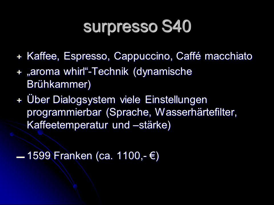 surpresso S40 Kaffee, Espresso, Cappuccino, Caffé macchiato