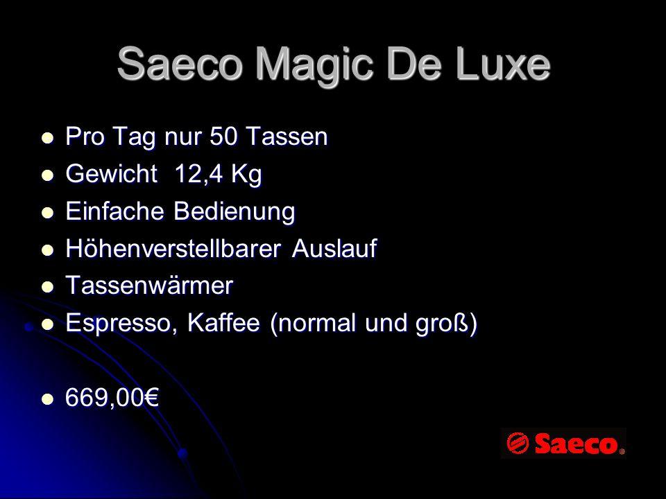 Saeco Magic De Luxe Pro Tag nur 50 Tassen Gewicht 12,4 Kg