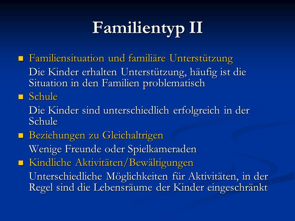 Familientyp II Familiensituation und familiäre Unterstützung