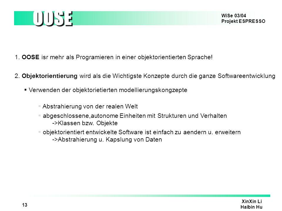 1. OOSE isr mehr als Programieren in einer objektorientierten Sprache!