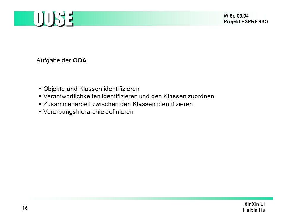 Aufgabe der OOA Objekte und Klassen identifizieren. Verantwortlichkeiten identifizieren und den Klassen zuordnen.