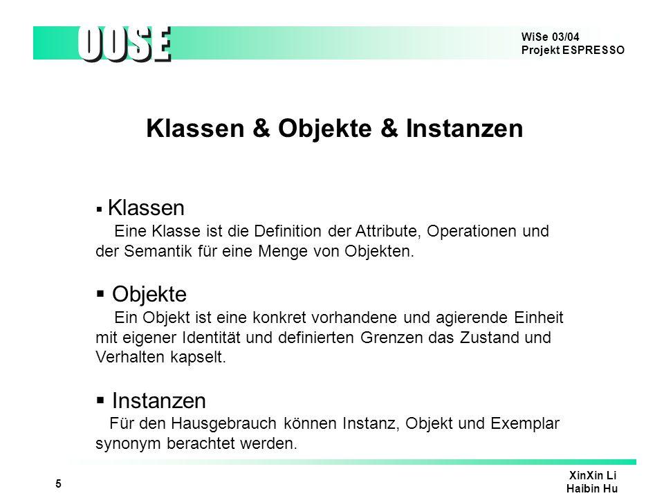 Klassen & Objekte & Instanzen