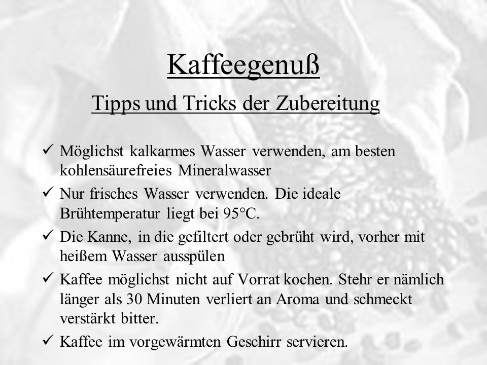 Tipps und Tricks der Zubereitung