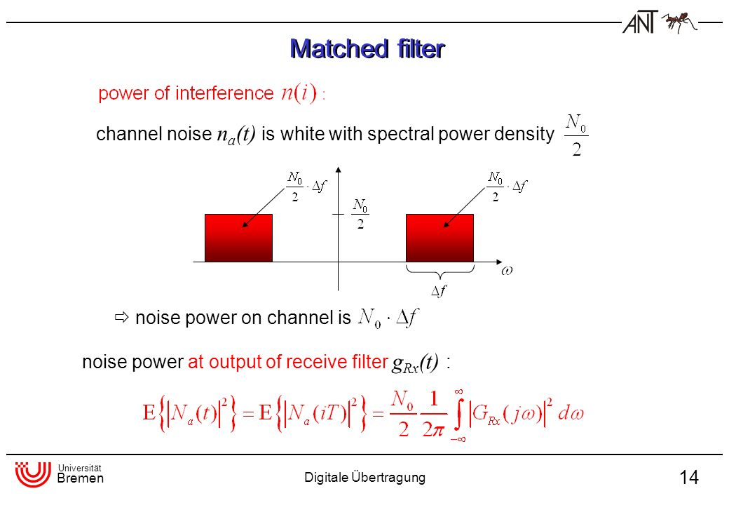 Matched filter channel noise na(t) is white with spectral power density.  noise power on channel is.