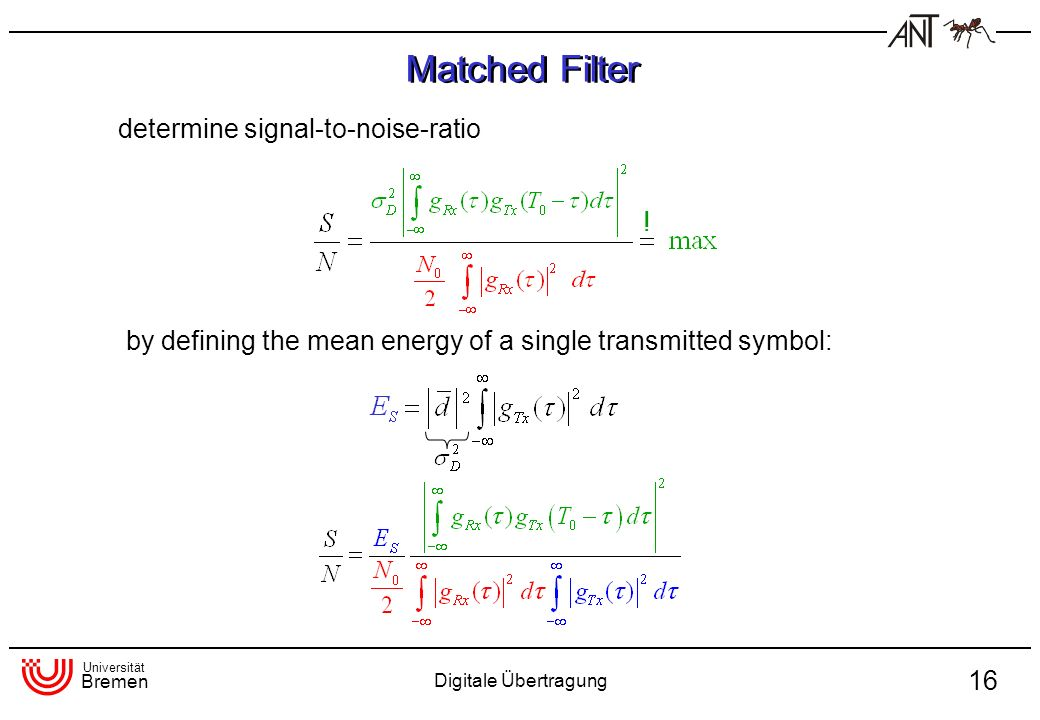 Matched Filter determine signal-to-noise-ratio !