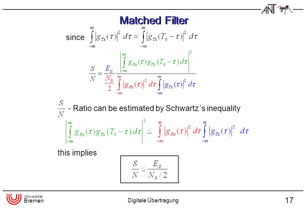 Matched Filter since - Ratio can be estimated by Schwartz´s inequality