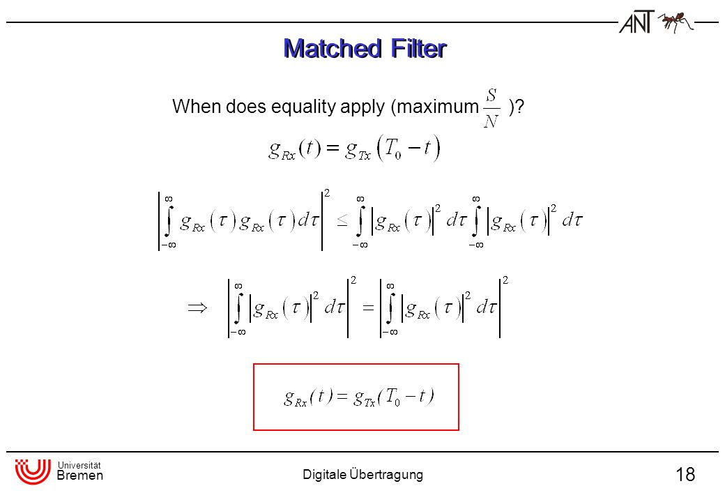 Matched Filter When does equality apply (maximum )