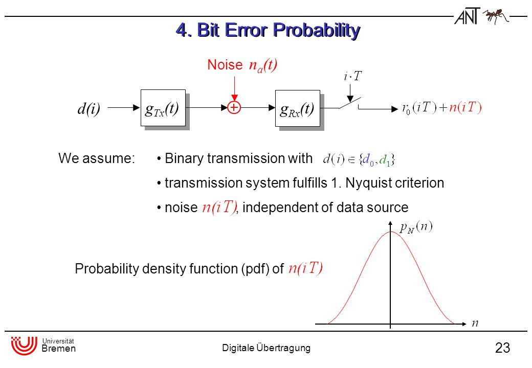 4. Bit Error Probability d(i) gTx(t) gRx(t) Noise na(t) We assume: