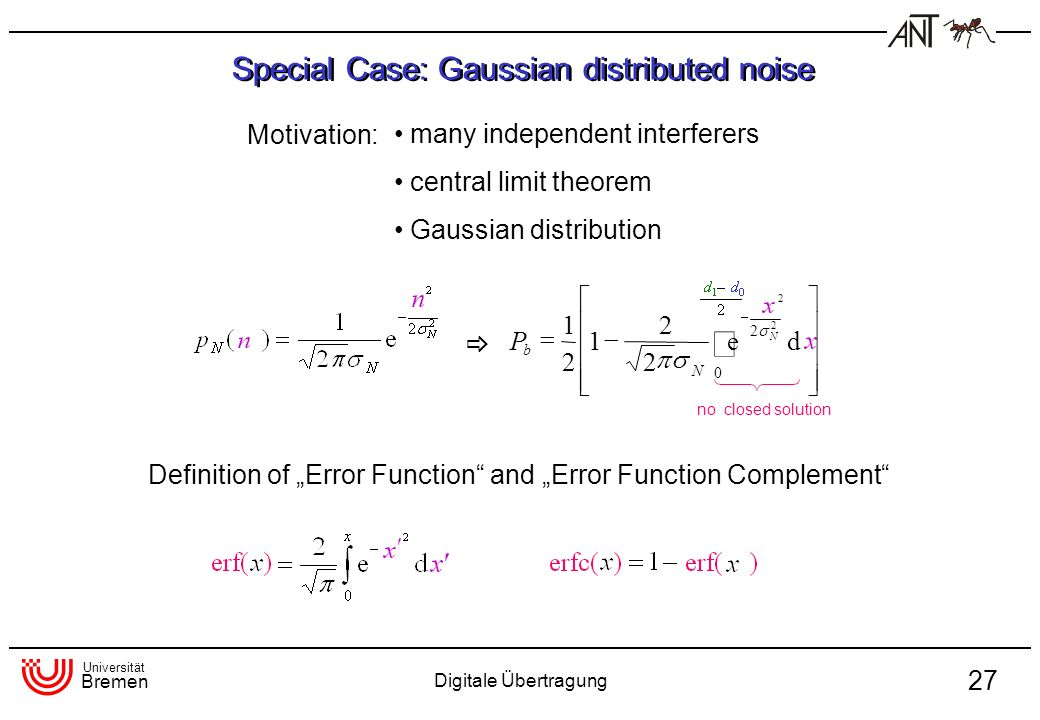 Special Case: Gaussian distributed noise