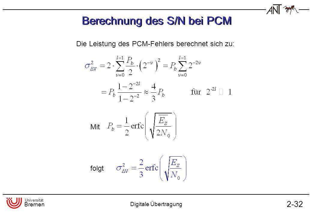 Berechnung des S/N bei PCM