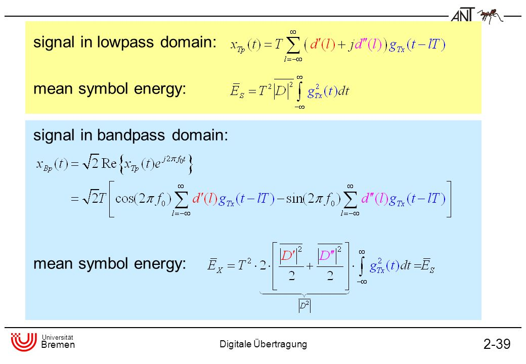 signal in lowpass domain: mean symbol energy: