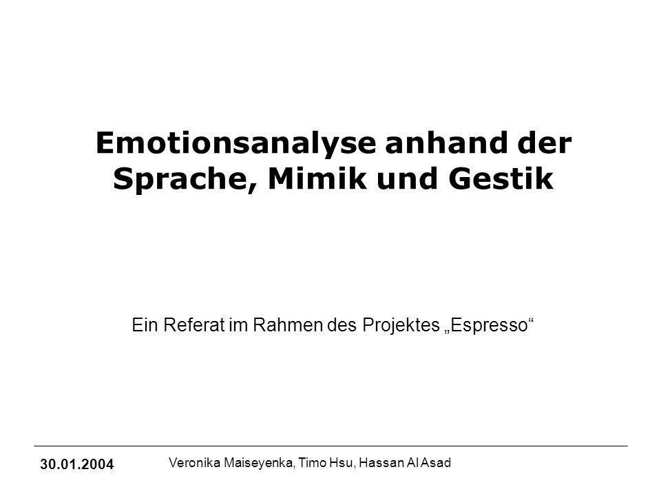Emotionsanalyse anhand der Sprache, Mimik und Gestik