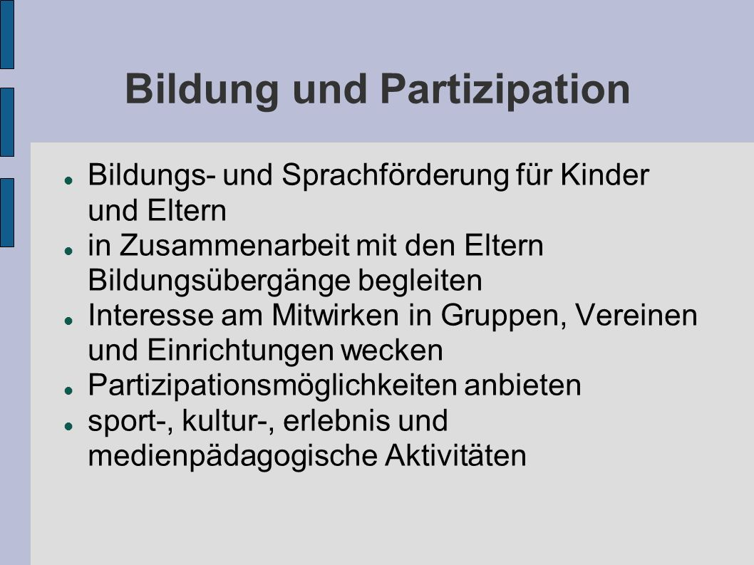 Bildung und Partizipation