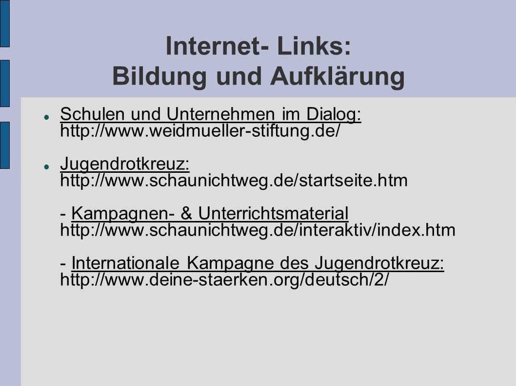 Internet- Links: Bildung und Aufklärung