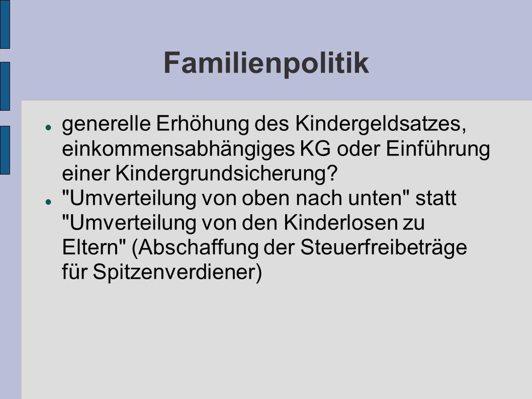 Familienpolitik generelle Erhöhung des Kindergeldsatzes, einkommensabhängiges KG oder Einführung einer Kindergrundsicherung