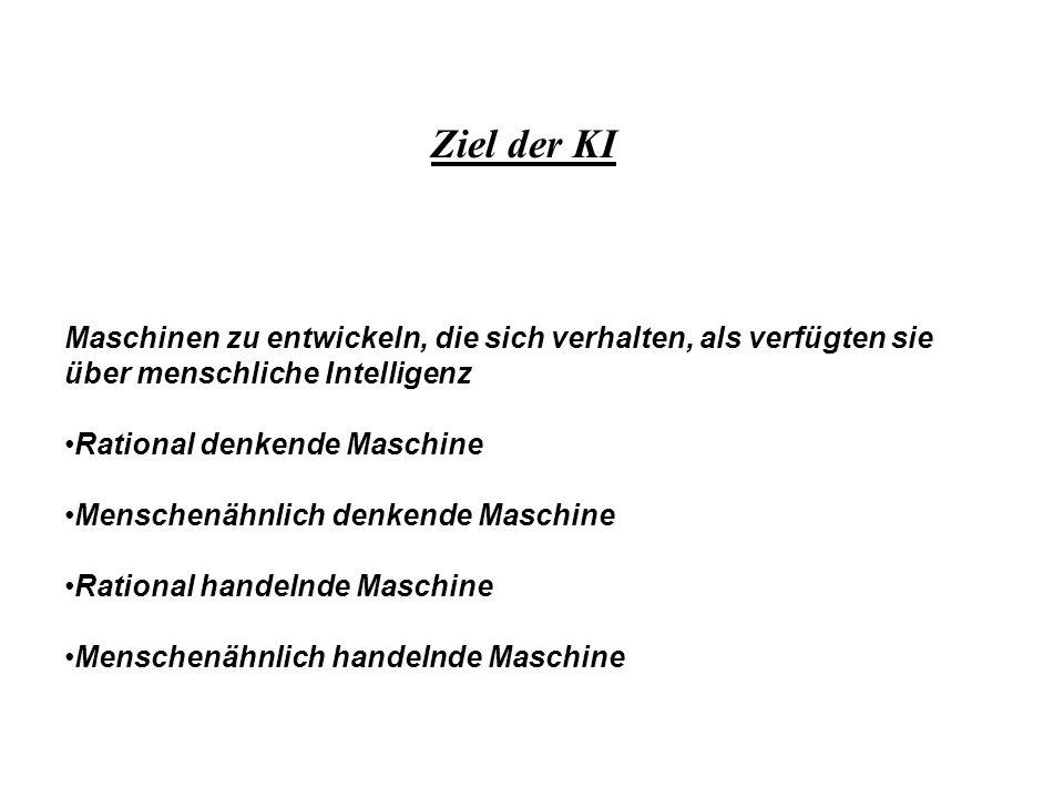 Ziel der KIMaschinen zu entwickeln, die sich verhalten, als verfügten sie über menschliche Intelligenz.