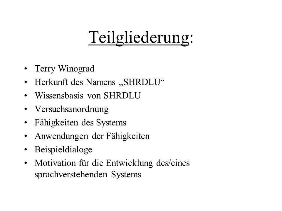 """Teilgliederung: Terry Winograd Herkunft des Namens """"SHRDLU"""