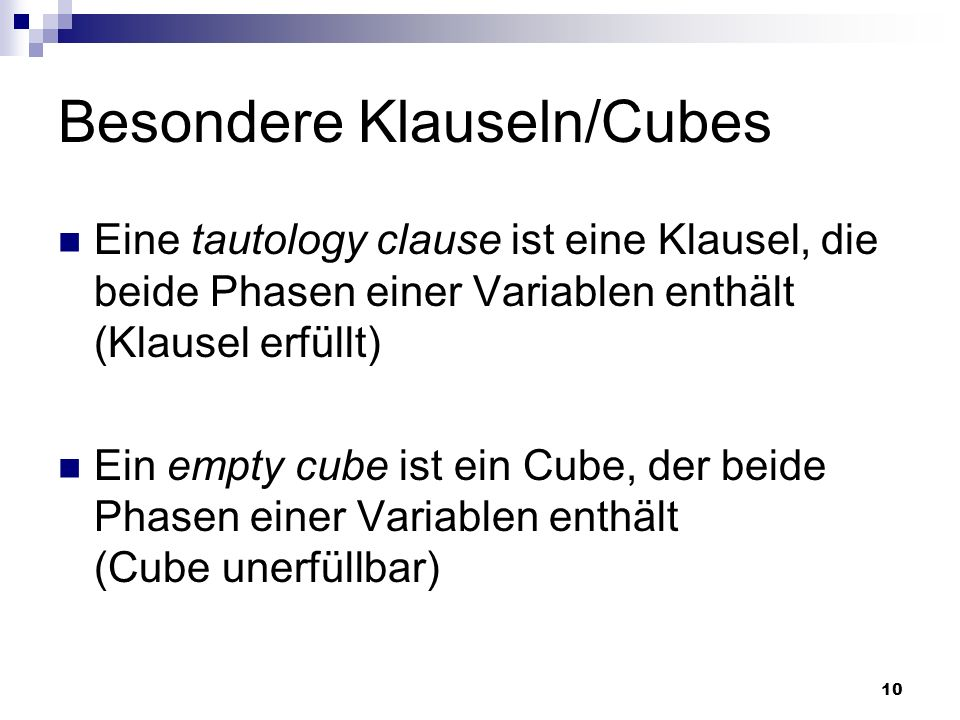 Besondere Klauseln/Cubes
