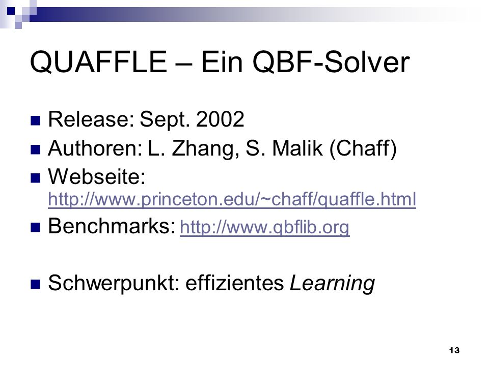QUAFFLE – Ein QBF-Solver