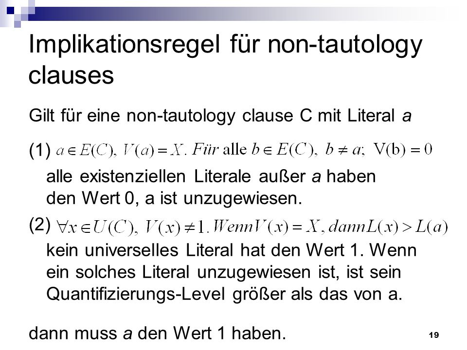 Implikationsregel für non-tautology clauses