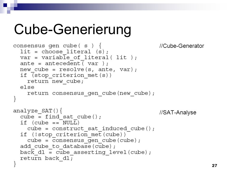 Cube-Generierung //Cube-Generator //SAT-Analyse