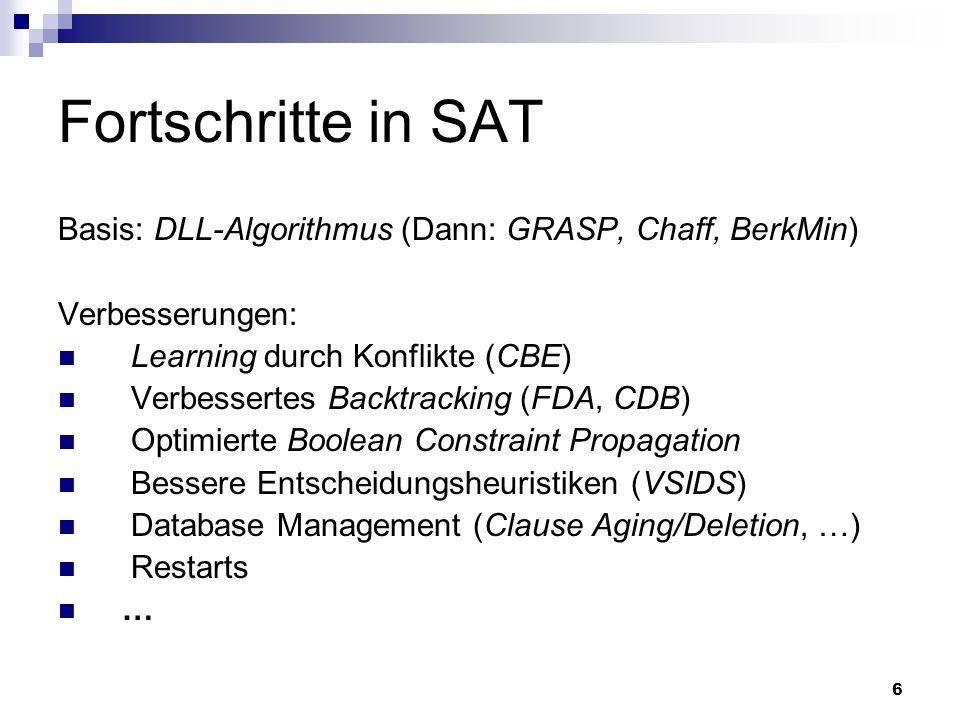 Fortschritte in SAT Basis: DLL-Algorithmus (Dann: GRASP, Chaff, BerkMin) Verbesserungen: Learning durch Konflikte (CBE)