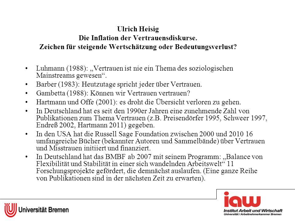 Ulrich Heisig Die Inflation der Vertrauensdiskurse