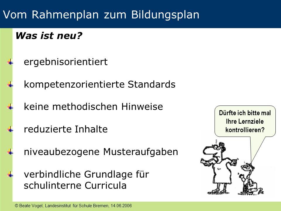 Vom Rahmenplan zum Bildungsplan