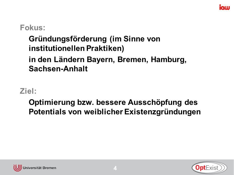 Fokus: Gründungsförderung (im Sinne von institutionellen Praktiken) in den Ländern Bayern, Bremen, Hamburg, Sachsen-Anhalt.