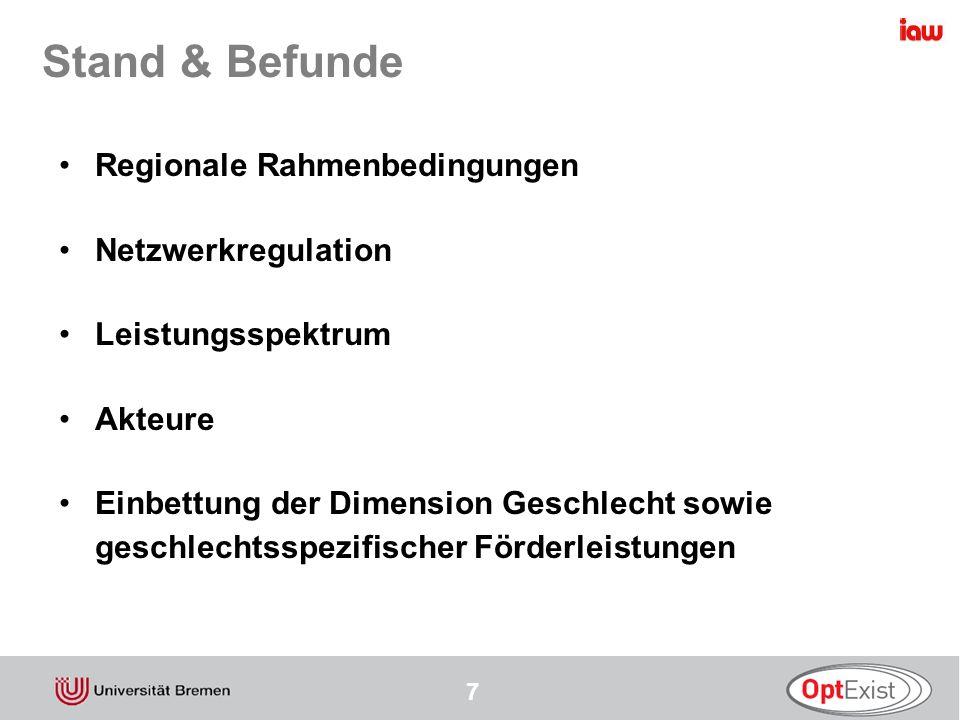 Stand & Befunde Regionale Rahmenbedingungen Netzwerkregulation